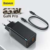 [GaN Tech] Baseus GaN2 Pro 65W 3-Port USB PD Charger Dual 65W USB-C PD3.0 QC3.0 FCP SCP Fast Charging Wall Charger Adapter EU Plug US Plug With 100W 5A USB-C to USB-C Cable