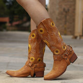 Women Retro Sunflowers Pattern Pointed Toe Chunky Heel Harness Cowboy Boots