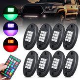 8pcs RGB LED ROCK Light Under Glow Voice Controller Muti-Channel Off-road Car