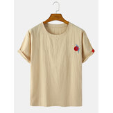 Mens Embroidered Solid Color Loose Light Round Neck Casual T-Shirts