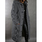 Women Solid Color Jacquard Knitted Mid-Length Hooded Cardigan With Pocket