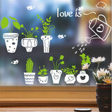 Wall Sticker Green Potteds Leaves Home Office Glass Decorations Wallpaper Poster Art Living Room Background Wall Decals