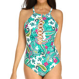 Printed High Neck Halter One Piece Swimsuit