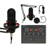 LEORY K20 Condenser Microphone with V9X PRO Sound Card Microphone Kit for Studio Live DJ Smartphone PC Gaming Karaoke Computer Mic