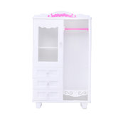 Kids Chlid Miniature Wardrobe DIY Doll House Bedroom Furniture Clothes Hangers Storage Toys