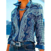 Women Ethnic Style Print Button Front Lapel Long Sleeve Shirt