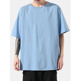 Mens Solid Color Cotton Round Neck Loose Casual Short Sleeve T-Shirts