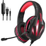 Fone de ouvido para jogos J5 Som estéreo com fio LED Fones de ouvido de luz Jogo com cancelamento de ruído Fones de ouvido com microfone