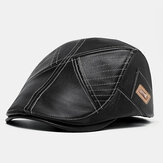 Banggood Design PU Couro Cor Sólida Exterior Manter Aquecido Chapéu Boina Chapéu