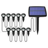 ソーラーパワーデュアルスポットライト屋外ガーデンランドスケープスポットライト10倍スポットライト付きヤード芝生ランプ