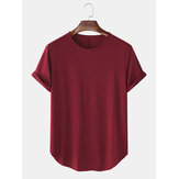 Solid Color Round Neck Short Sleeve Casual T-Shirts