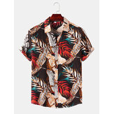 Men Color Block Leaves Print Turn Down Collar Beach Casual Short Sleeve Shirts