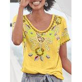 Kadınlar Etnik Baskı Kepçe Boyun Kısa Kollu Bohem Tişörtleri