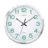Parede de quartzo luminoso de 12 polegadas Relógio brilhante redondo plástico suspenso Relógio Decoração de parede de escritório doméstico Mobiliário criativo