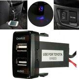 12V 5V 2.1A USB Portlu Cep Telefonu Mp3 Toyota Lexus Filosu için Şarj Aleti ve Ses Girişi