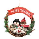 Décorations de porte de mur de guirlande de Noël en rotin