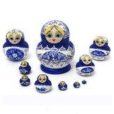 1 مجموعة 10 قطع الروسية الدمى خشبية رسمت باليد التعشيش بابوشكا ماتريوشكا هدية الحاضر