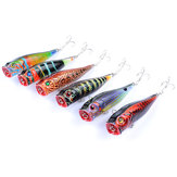 ZANLURE 6pcs/set 9cm 14.4g Fishing Lure Top Water Colorful Pattern Bionic Popper Hard Bait