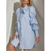 Solid Color Stand Color Puff Sleeve Button Urban Style Pleated Shirt Dress
