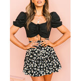 Small Daisies Print High Waist Ruffle Pleated Holiday A-line Skirts