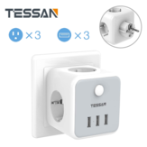 TESSAN TS-301-DE 6-in-1 Wireless German/EU Wall Socket Power Strip with 3 AC Outlets/3 USB Charger Adapter Overload Protection Socket with On/Off Switch