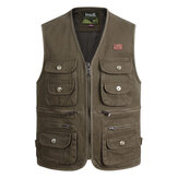 Outdooors Photography Fishing Multi Pocket Tactical Functional Cotton Sleeveless Vest