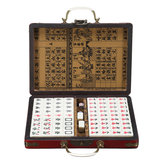 Portable Retro Mahjong Box Zeldzaam Chinees 144 Tiles Mah-Jong Set Funny Party Board Game Toy