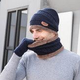 Uomo Bambino 3PCS Tinta unita Keep Warm Set Moda Casual Cappello di lana Beanie Sciarpa Dita intera Guanti