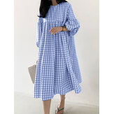 Frauen Plaid Puff Sleeve Hohe Taille Bohemian Casual Loose Midi Kleid
