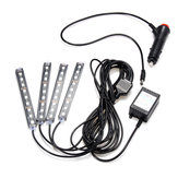 4Pcs LED Car Interior Lights Lights Floor Floor Light Strip Phone App Control Colorful RGB