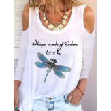 Women Letter Print Dragonfly Pattern Scoop Neck Long Sleeve Casual T-Shirts
