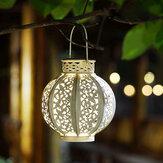 LED Солнечная Energy Courtyard На открытом воздухе Спальня Hallow Out Фонарь Висящее дерево Лампа Night Light