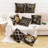 Almohada de Navidad de 45 x 45 cm Caso Funda de almohada pintada de oro blanco y negro Funda de cojín de Navidad decorativa para sofá Caso Almohadas
