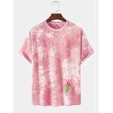 Tie-Dye 100% Cotton Breathable Cactus Pattern Casual Short Sleeve T-Shirts