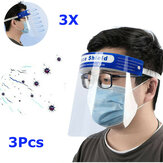 3Pcs Transparent Adjustable Full Face Shield Plastic Anti-fog Anti-spit Protective Mask for Medical Doctors Nurse Household