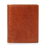 Men Genuine Leather Minimalist Retro Short Wallet Business Casual Vertical Wallet Card Holder