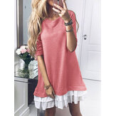 Women's Casual Long-sleeved Patchwork Dress
