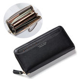 Women Portable Large Capacity PU Leather Zipper Card Slot Wallet for iPhone Mobile Phone