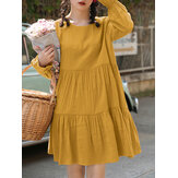 Women Cotton Solid Color Pleats O-neck Long Sleeve Casual Dress