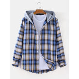 Mens Plaid Curved Hem Long Sleeve Casual Loose Drawstring Hooded Jacket