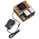 Mini-roteador Nanopi R2S + Capa protetora de liga de alumínio com ventilador de resfriamento + 5V 3A Kit de DIY