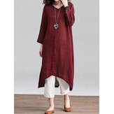 Women Solid Loose Round Neck Button Down Front Dress