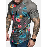 Mens Floral Print Stripe Raglan Sleeves Fitness Workout Short Sleeve T-Shirts