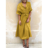 Women Casual Lapel Corn-strap Lantern Sleeve Mustard Yellow Maxi Dress