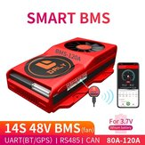 DALY BMS 14S 48V 80A 100A 120A 18650 Smart BMS Bluetooth 485 to USB Device NTC UART Software Togther Lion LiFepo4 Battery BMS with Fan
