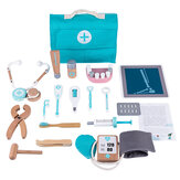 18 Pcs Children Wooden Role Play Pretend Dentist Toolbox Doctor Medical Playset with Stethoscope Early Education Toy