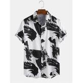 油絵柄プリント通気性半袖カジュアルシャツ