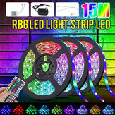 49FT 15M RGB LED Strip Light 3528 Waterproof/Non-waterproof Flexible Tape Lamp DC12V + 44Keys Remote Control + Power Supply