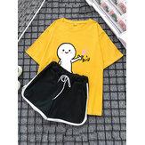 Women Cartoon Cute Print Short Set Sportswear Pajamas