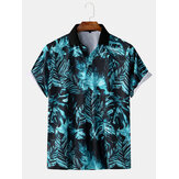 Hombres Moda Casual Hoja Imprimir Turn-Down Collar Holiday Camisa